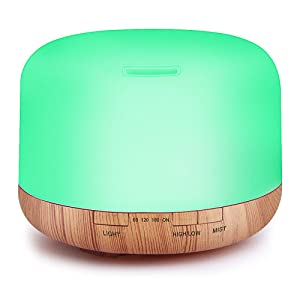 Essential Oil Air Mist Diffuser - Quiet Aroma Essential Oil Diffuser with Adjustable Cool Mist Humidifier Mode Waterless Auto-off 7 Color Lights Changing for Office Home Bedroom Living Room (500ml)