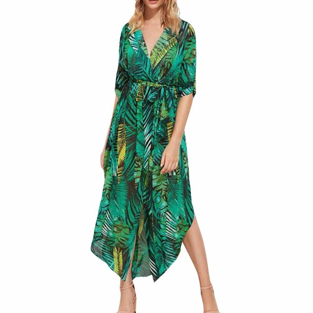 BCDshop Women Boho Floral Long Dress Gown Fashion Summer Sleeveless Sling Beach Dress Bikini Coverup (XL Bust:37.0'')