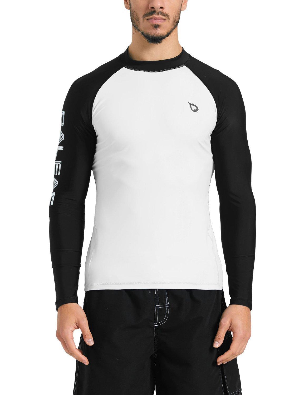 Baleaf Men's Basic Long Sleeve Rashguard UV Sun Protection Athletic Swim Shirt UPF 50+ White/Black XXL by BALEAF