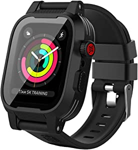 Waterproof Case for Apple Watch 44mm, YOGRE 44MM Waterproof Case Full Sealed for Series 6/5/4/SE with Built-in Screen Protector for Shockproof and Dustproof, Package with Extra Soft Slicone Watch Band