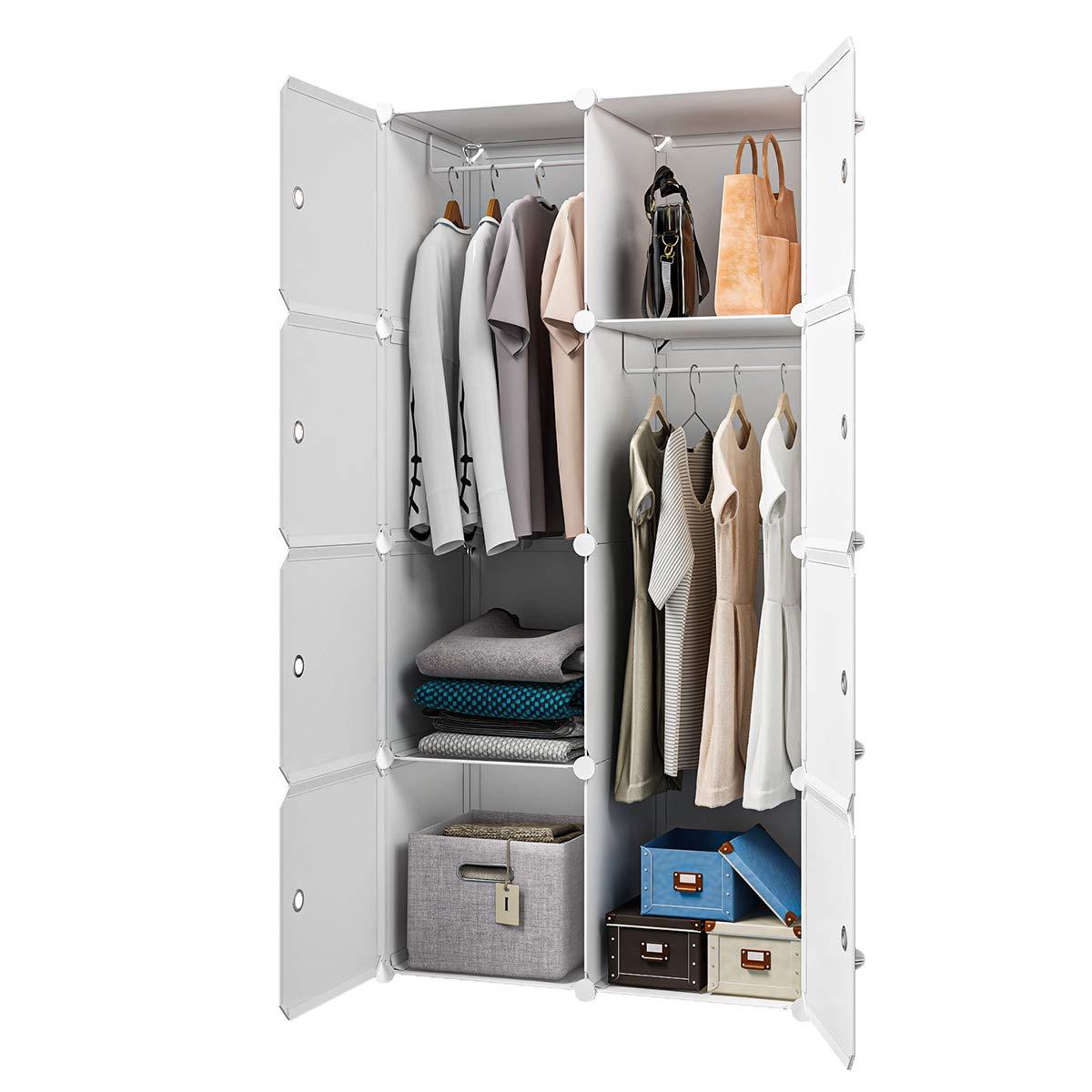 KOUSI Portable Closet Wardrobe Closet Room Closet with Doors Wardrobe with Storage Wardrobes for Bedrooms Portable Closet Wardrobe Bedroom Armoire, White, 2 Hanger by KOUSI