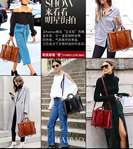 Soft Black Bag Leather Leather Simple Ladies Fashion Big Shoulder Bag Handbag Portable FLHT Wild Messenger Leather Bag 0fqaSavw