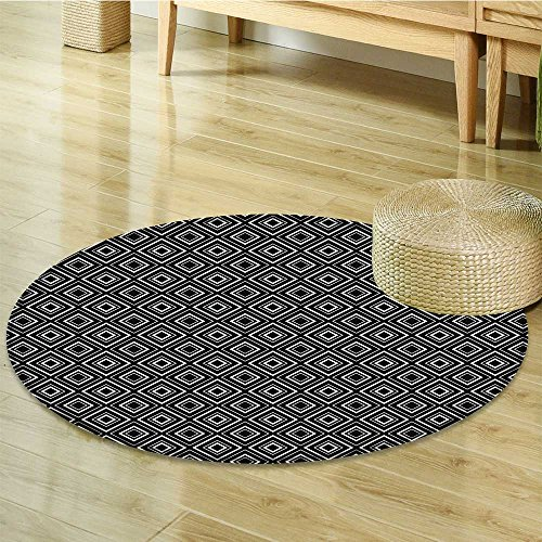 Round Area Rug Art Borders Shaped Rhombusative Black and Indoor/Outdoor Round Area Rug-Round 55