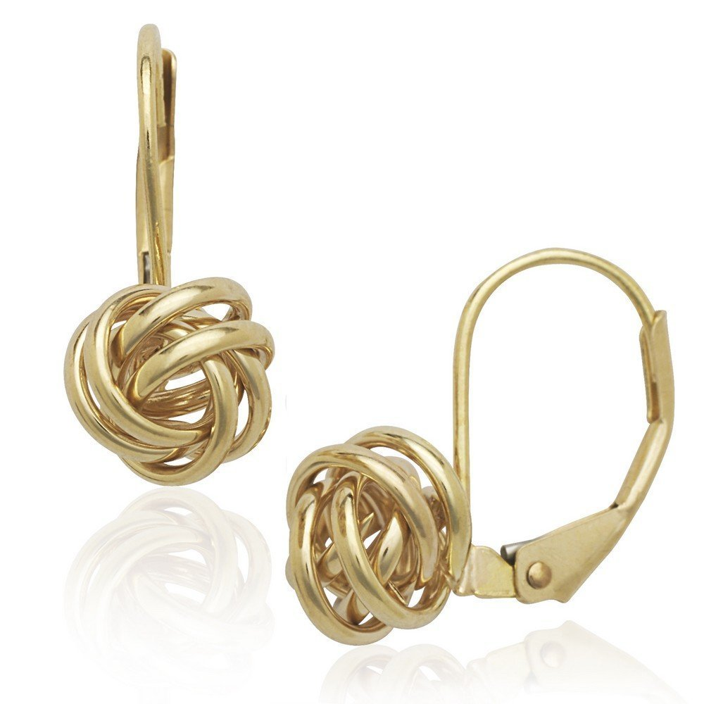 14k Yellow Gold Stationary Love-Knot Leverback Earrings - Measures 19x8mm
