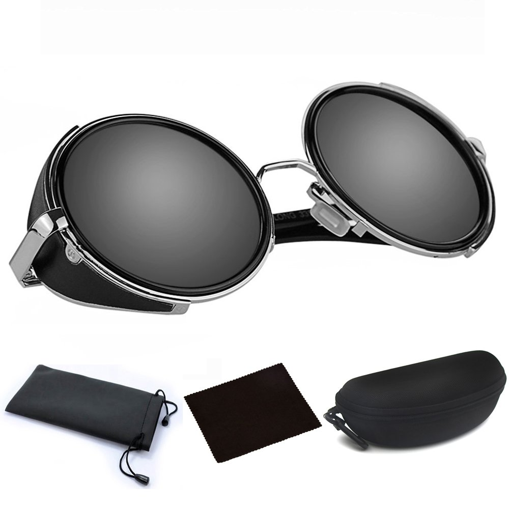 73aa79cd195 Amazon.com  Mens Womens Steampunk Sunglasses 50s Round Glasses Cyber  Goggles Vintage Retro Style Blinder Silver Metal Frame   Grey Lens w  Black  Hard Case  ...