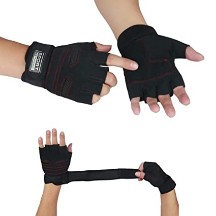STRIR Guantes deportivos Gimnasio Guantes medio dedo respirable del levantamiento de pesas con mancuernas fitness Gimnasio