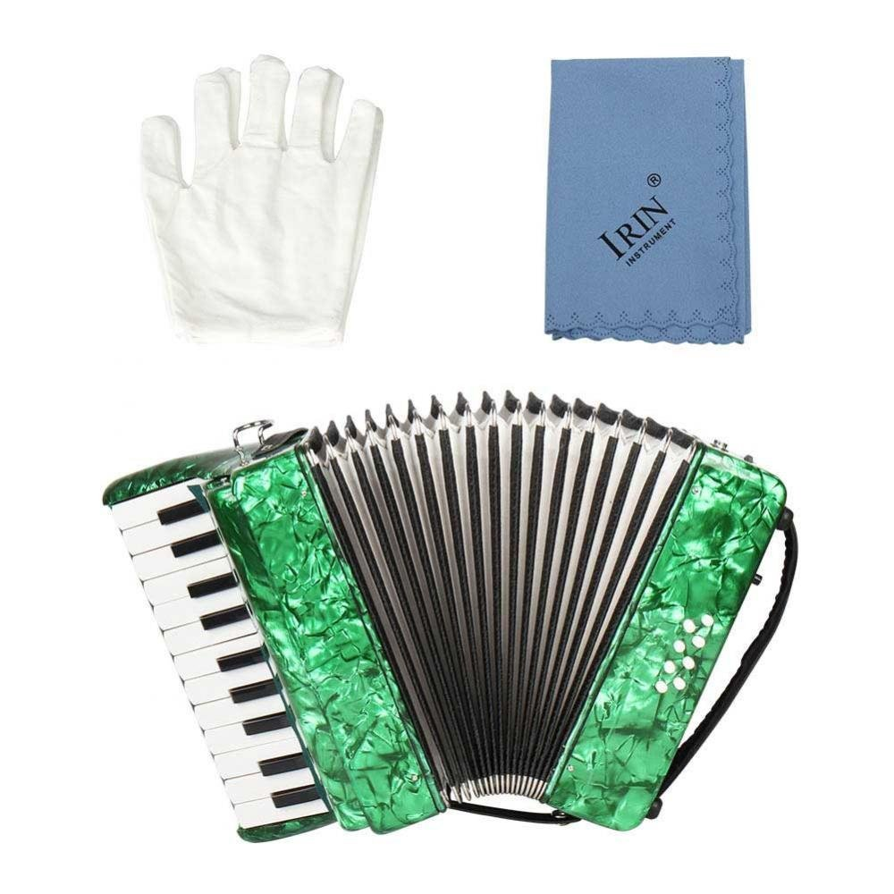 Dilwe Piano Accordion, Maple Wood 22 Key 8 Bass Keyboard Accordion Musical Instrument Toy with Straps Gloves Clean Cloth for Beginners Students(Green) by Dilwe (Image #7)