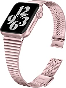 HAYUL Bands Compatible with Apple Watch Band 38mm 40mm 42mm 44mm, Stylish Thin Stainless Steel Metal Slim Bands Replacement for iWatch Series 6/5/4/3/2/1 & iWatch SE Women Men (Pink Gold, 42/44mm)