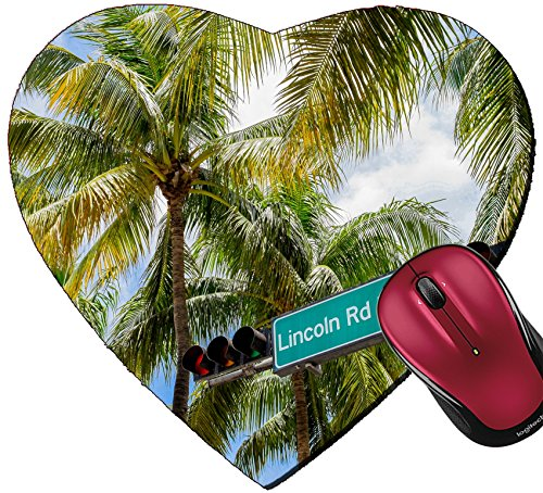 Liili Mousepad Heart Shaped Mouse Pads/Mat Lincoln Road Mall street sign located in Miami Beach - Miami Lincoln Mall Beach