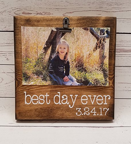 Primitive Font (Best Day Ever, Wedding Photo Board, Vacation photo holder, gotcha day, adoption, oh happy day, picture frame with clip, 4x6 photo holder, 7x7 typewriter font)