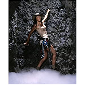 Adventure Inc. 8 inch x 10 inch PHOTOGRAPH Karen Cliche Climbing Rock in Beige Short Shorts Beige Tank Top Safari Hat Full