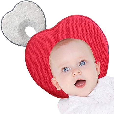 Almohada para Bebé, Estuyoya Pack de 2 Previene Plagiocefalia Transpirable Suave Anti Cabeza Plana Cojín Antivuelco 0-12 Meses