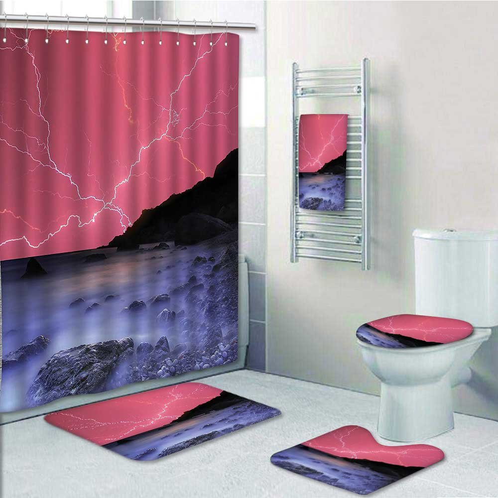 5-piece Bathroom Set-Includes Shower Curtain Liner, Bolts WithSky Like Solar Lights Phenomenal Pink GreyPrint Bathroom Rugs Shower Curtain/Bath Towls Sets(Large size)