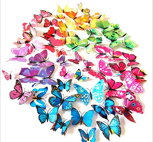 Amaonm 72 Pcs 6 Packages Beautiful 3d Butterfly Wall Decals Removable Diy Home Decorations Art Decor Wall Stickers & Murals for Babys Bedroom Tv Background Living Room (Colorful, Six Color) (Butterfly Decals)