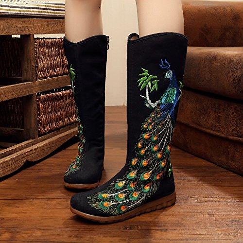 De Tissu Vieux Étanches Tube Mince Femmes KHSKX Femmes Beijing Chaussures Folklorique black Plat Brodé Style Nouveau Pour Chaussures Bottes t7xAw6