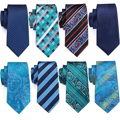 Barry.Wang Blue Ties Set Solid Neckties Paisley Tie Business Necktie Wedding Party (Tie Paisley Necktie)