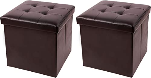 RedSwing 55L 15 Faux Leather Storage Ottoman Cube, Small Ottoman Foot Rest Collapsible and Folding for Sofa Couch Bedroom Living Room, Supports 330lbs, Brown, Set of 2