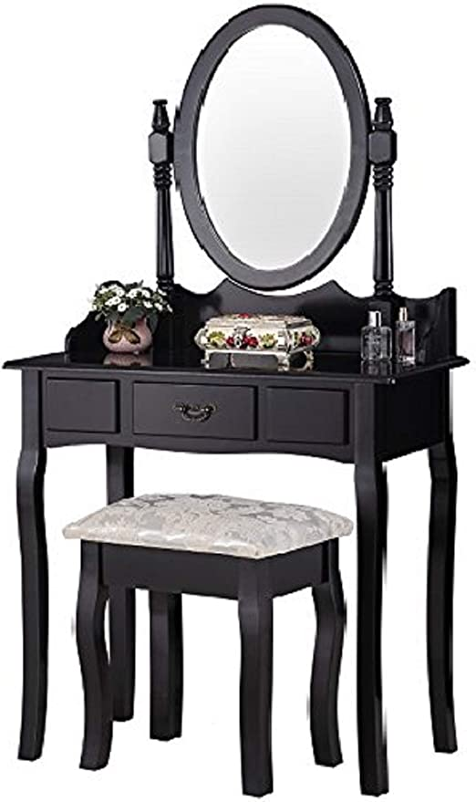Mecor Vanity Table Set/Oval Mirror,Wood Makeup Table w/Drawer  Storage,Bedroom Dressing Table with Cushioned Stool for Girls Women Black