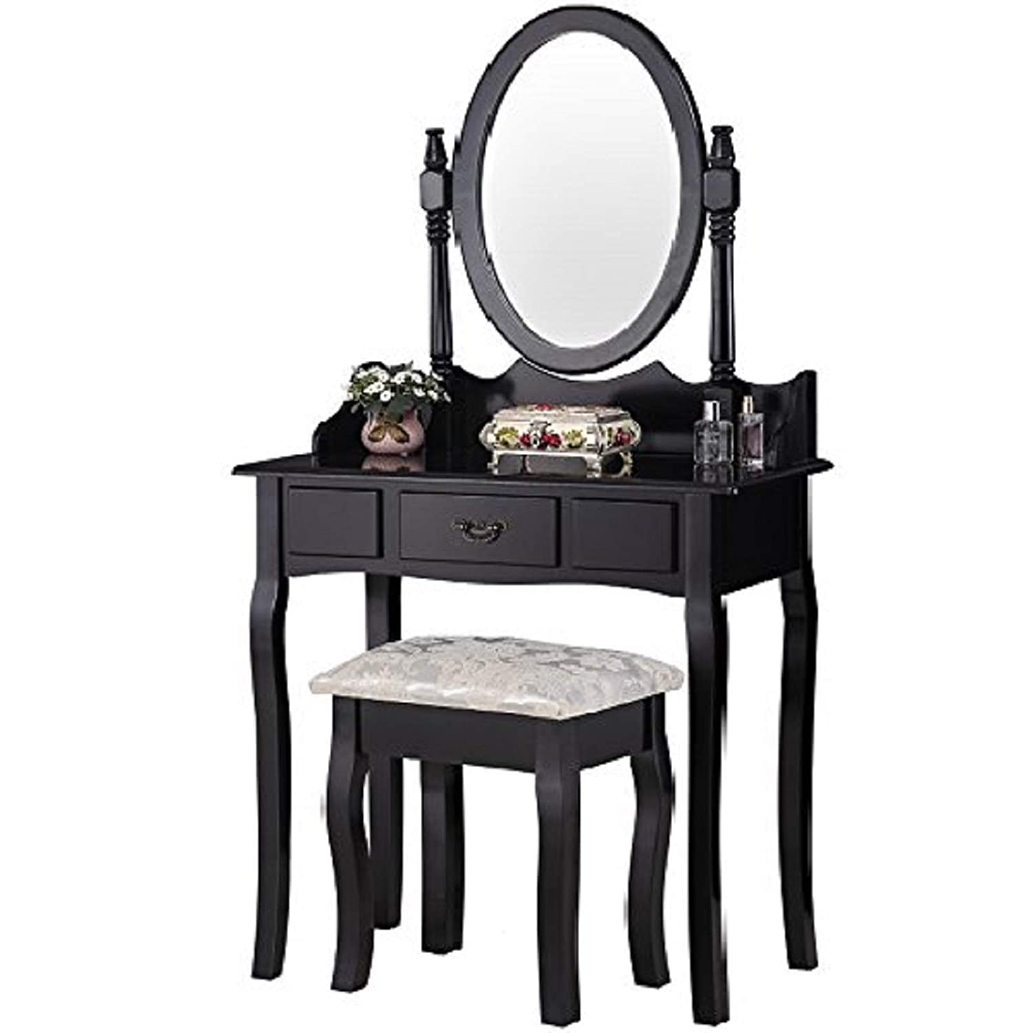 Mecor Vanity Table Set Oval Mirror,Wood Makeup Table w Drawer Storage,Bedroom Dressing Table with Cushioned Stool for Girls Women Black