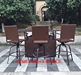 Great Deal Furniture 295812 Kory Outdoor 5pc Multibrown Wicker Dining Set