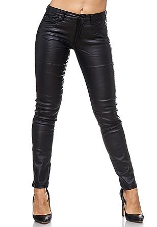 Faux Motard Biker Cuir Femme ArizonaShopping Stretch Noir Jeans D2082 Cuir Pantalon Couleurs xfwFUX0q1