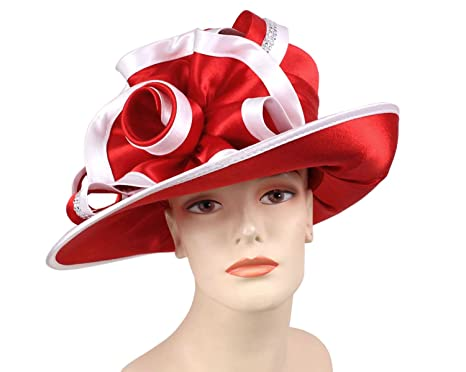 7c9ec4c573f Ms Divine Women s Satin Year Round Church Dress Formal Hats  HL47 (Red White