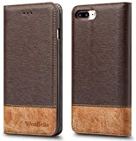For iPhone 7 Plus/iPhone 8 plus Case,WenBelle [Blazers Series]Stand Feature,Premium Soft PU Color matching Leather Wallet Cover Flip Cases For apple iPhone 7 Plus/iPhone 8 Plus 5.5 Inch (Brown)