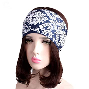 Women Elastic Turban Headband Sport Yoga Headbands Ethnic Wide Stretch Hair  Band A Size fits all 90d8566fd45