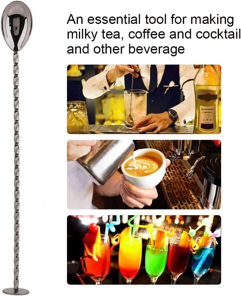 mit langem Griff f/ür Bars Fdit Cocktail-L/öffel Edelstahl Kaffee gedrehter Barl/öffel #2