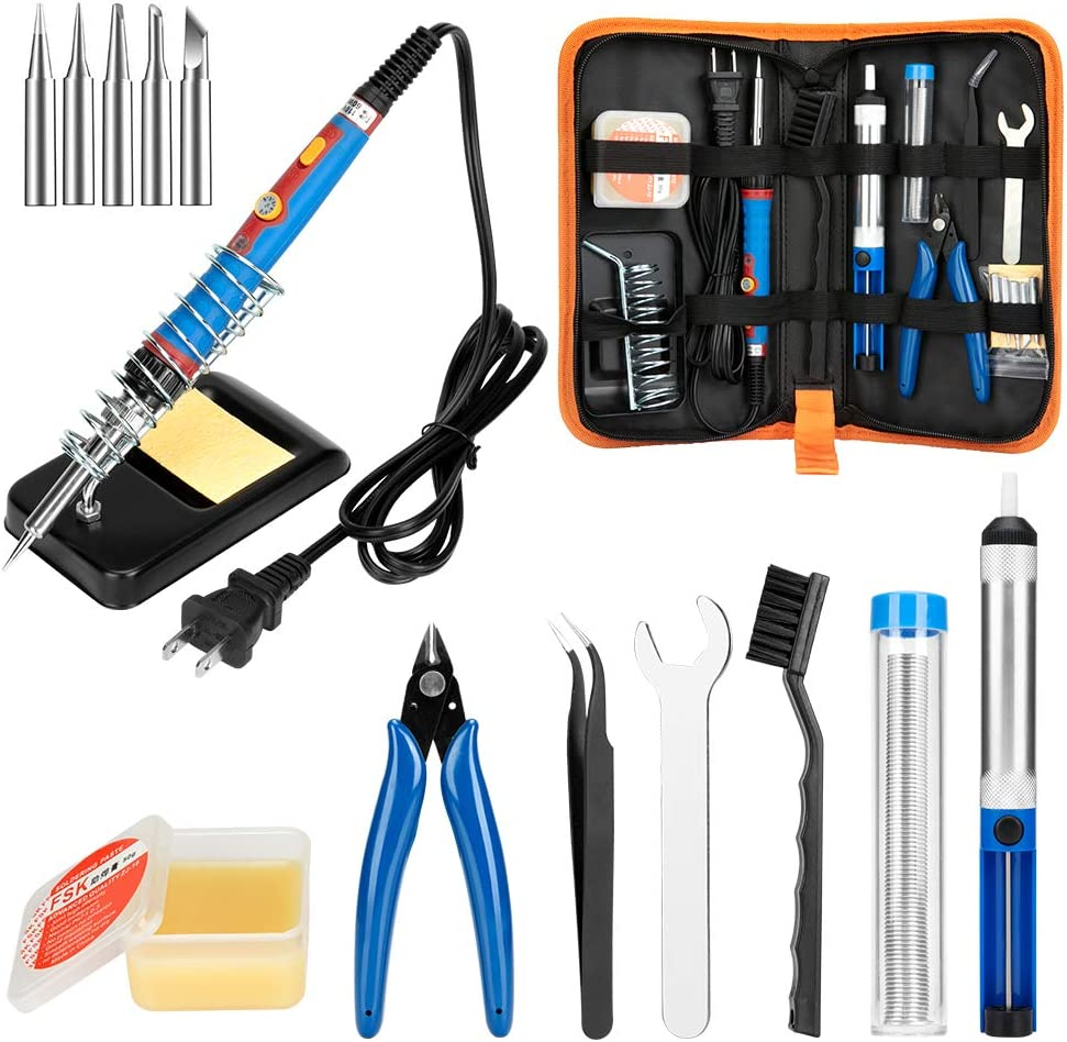 Soldering Iron Kit, 60W Upgraded 17 in 1 Soldering Kits Adjustable Temperature Welding Soldering Iron Tool with On/Off Switch Use for Home DIY Electrical Repairs Jobs, US Plug