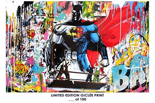 RARE POSTER graffiti MR. BRAINWASH batman vs. superman 2017 REPRINT giclee #'d/100!! - Mr Art Brainwash