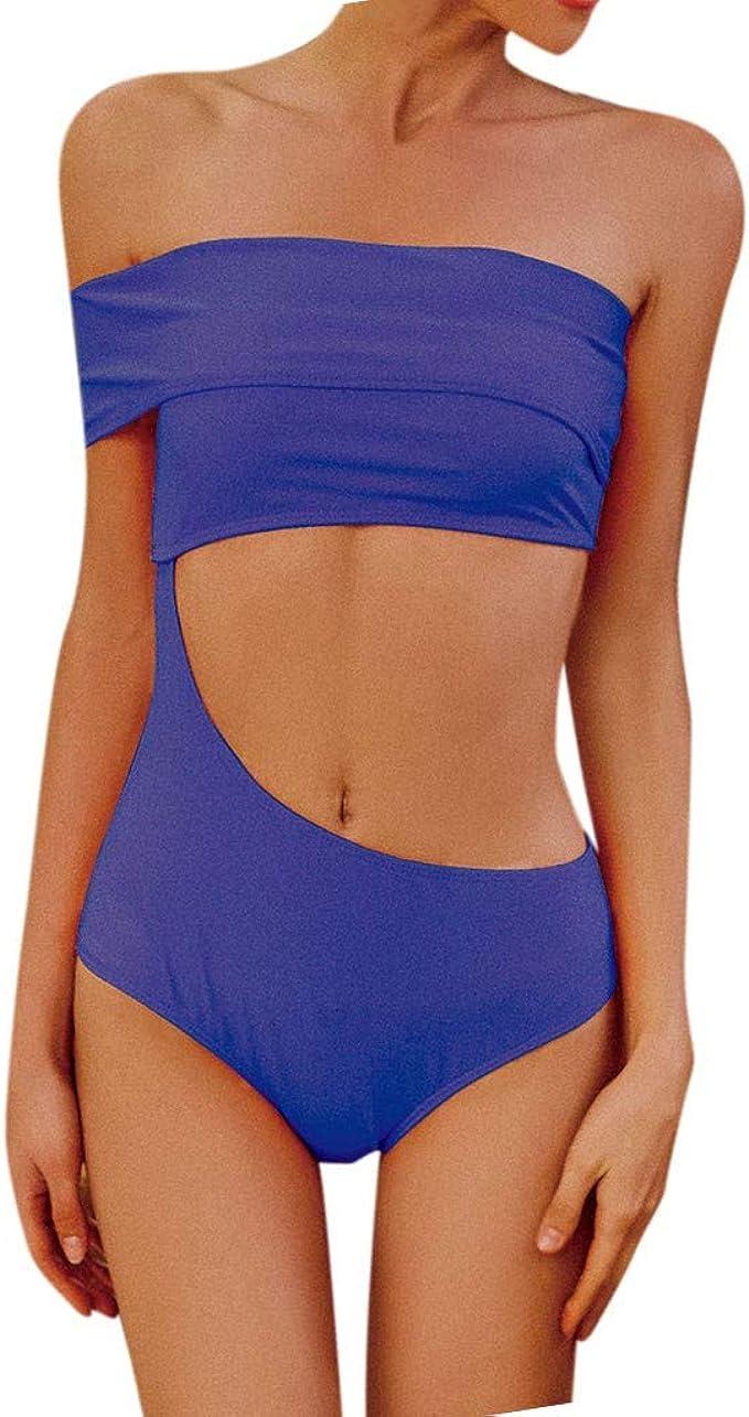 Bikini Dividido en Color Liso para Mujer Verano Traje de baño ...