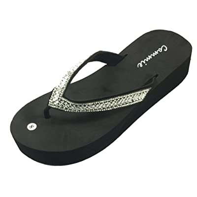 Women's Elegant Sequin Flip Flops Wedge Sandals Platform Heel Thongs Beach Shoes