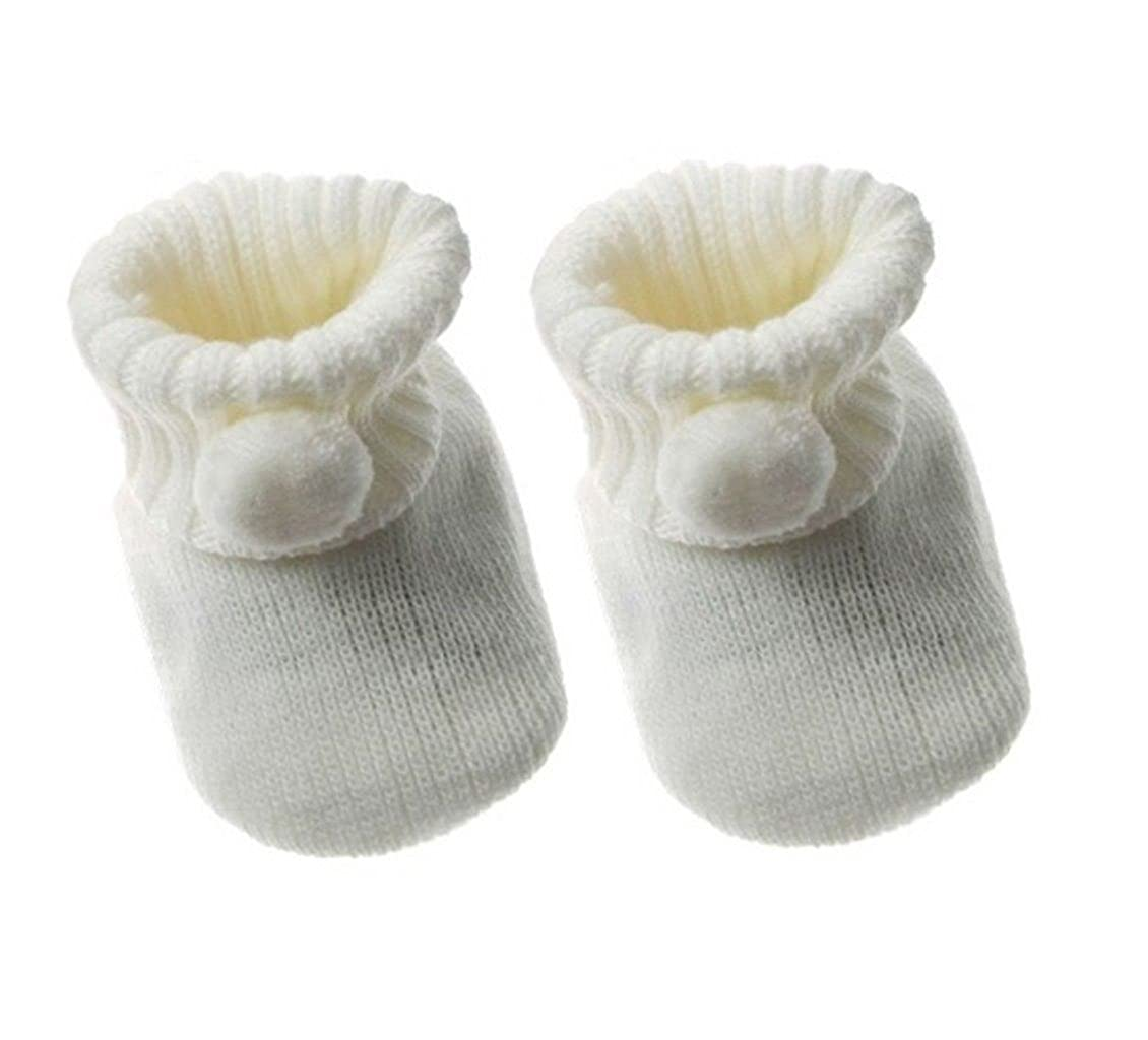 Soft Touch Baby Bootees Booties Boys Girls 1 Pair Pom Pom New Born To 3 Months