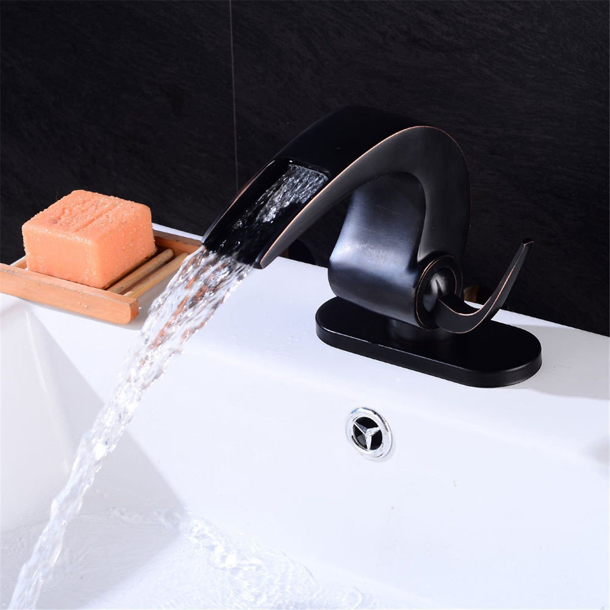 Xicaimen Basin Sink Mixer Tap Chrome Bathroom Faucet Black Hot and Cold Water Waterfall Single Lever Basin Sink Mixer Taps Waterfall Bathroom Sink Faucet