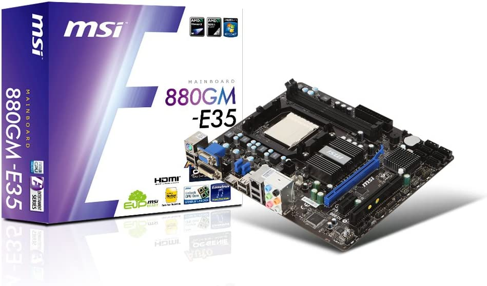 MSI Socket AM3 AMD 880G DDR3 A&GbE MATX Motherboard - 880GM-E35