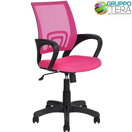 BAKAJI silla escritorio Kite Sillón para oficina giratoria con reposabrazos y ruedas Altura Regulable Color Rosa