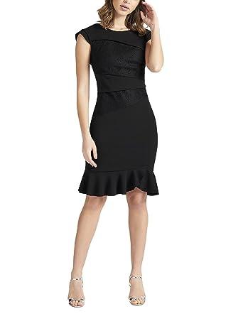 afe5721372 Lipsy Womens Lace Insert Flute Hem Bodycon Dress - Black -: Amazon ...