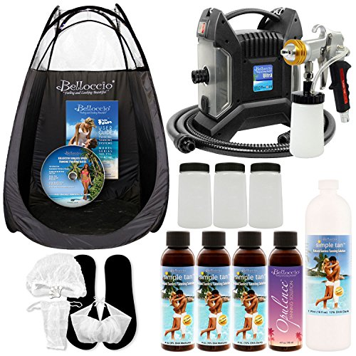 Ultra Pro Plus T85-QC-11 High Performance Sunless Turbine Spray Tanning System; G11 Metal Gun, Pint Simple Tan 12% DHA Solution by Belloccio