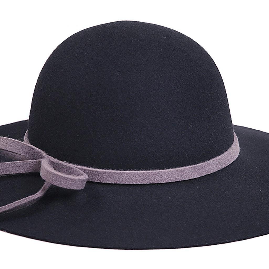 WE ZHE Lana femminile cappelli di feltro grandi cappelli cappello a tesa  larga Bowler Moda regolabile elegante bordo largo In autunno e in inverno  nero  ... 950daafbd1eb