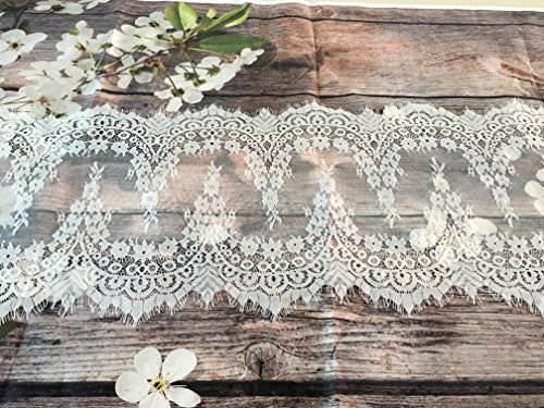 Shabby Chic Decor - White Lace Classic Table Runner 10Ft 12x120inches For Wedding Party, Birthday Party, Boho Party Decor, Baby Shower Bridal Shower Vintage Rustic