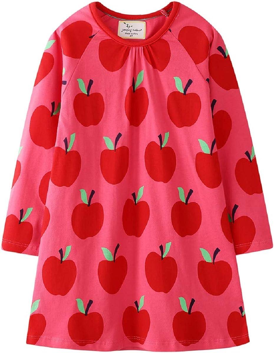Hongshilian Toddler Girls Longsleeve Dress Cotton Jersey Casual Dresses Cartoon Applique(7T,Apple & Red)