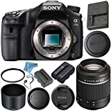 Sony Alpha a77 II DSLR Camera (Body Only) ILCA77M2 + Sony DT 55-200mm f/4-5.6 SAM Lens SAL55200 + NP-FM500H Lithium Ion Battery + 55mm UV Filter + Fibercloth + Lens Capkeeper Bundle