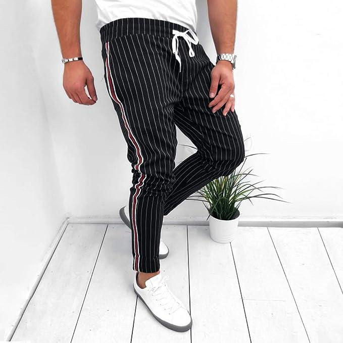 Amazon.com: Mens Striped Long Pants Casual Joggers Patchwork ...