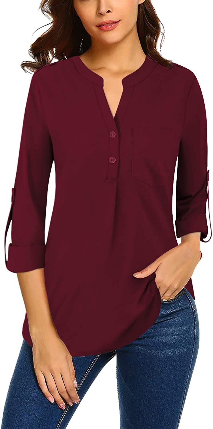 Bulotus Women Chiffon Blouses for Work 3/4 Sleeve V Neck Business Casual Tops: Clothing