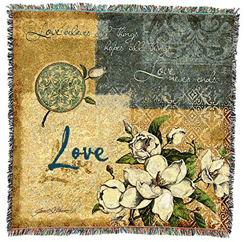 (Pure Country Weavers | Love Religious Inspirational Peaceful Woven Throw Blanket with Fringe Cotton USA 54x54)