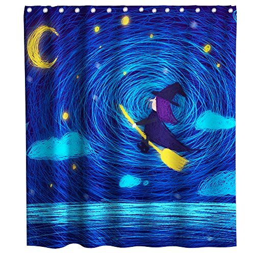 Lifeasy Abstract Sketch Art Shower Curtain Cartoon Theme Witch Rode a Broom Fabric Bath Curtain Design Bathroom Accessories with Hooks Waterproof Washable 72 x 72 inches Blue Yellow]()