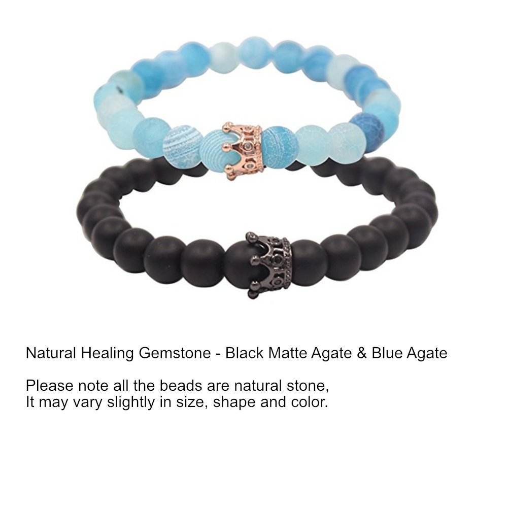 ISAACSONG.DESIGN Unisex Prayer Healing Round Natural Lava Turquoise Stone 8mm Beads Stretch Bracelet with Charms (Black Matte Agate & Blue Agate) by ISAACSONG.DESIGN (Image #2)