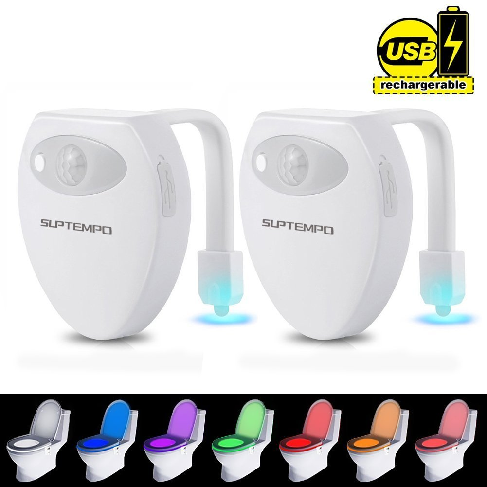 2-Pack Toilet Light Rechargeable - SUPTEMPO LED Sensor Motion Activated Toilet Night Light with 8 Colors Changing