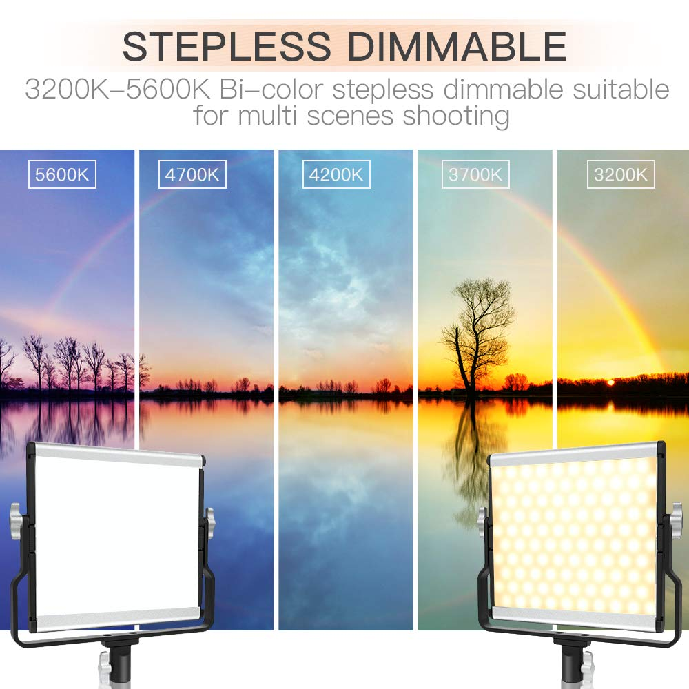 U-Bracket LCD Display Metal Shell Video Lighting Kit for Studio Photography Shooting FOSITAN LED Video Light with 2M Stand Bi-Color 3960 Lux 200 SMD CRI 96 2 Packs